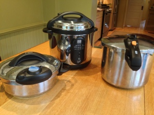 My pressure cookers. From left -to-right, the 3 qt T-Fal braiser, the 6 quart T-Fal electric, and my 9 qt Fagor stove-top model.