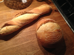 A bâtard and boule.  I didn't get the slashes quite right in my bâtard. Oh well.