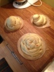 Round challahs (faiglin) for Rosh Hashana (braided) and Sukkos (spiraled)