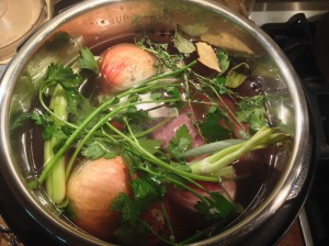 Stock ingredients, ready for a long simmer.
